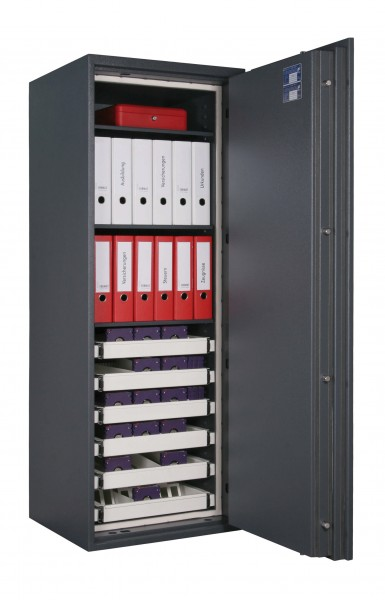 Fireproof safe FORMAT Office Data Star 365 filled and open