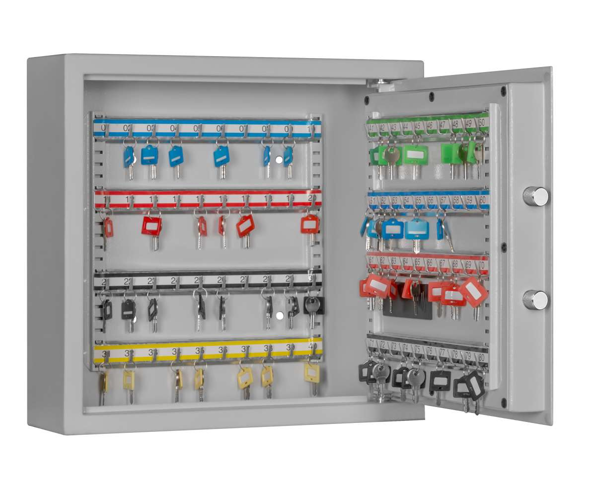 Key cabinet with electronic lock FORMAT SLE 80 - half open and with decoration