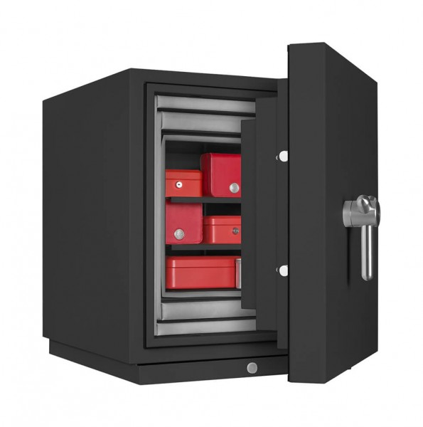 Fireproof safe FORMAT Fire Star Plus 0 filled and half open
