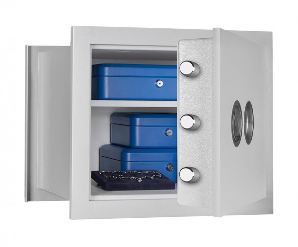 Wall Safe Grade 1 FORMAT Wega 30-380 light grey half opened and filled