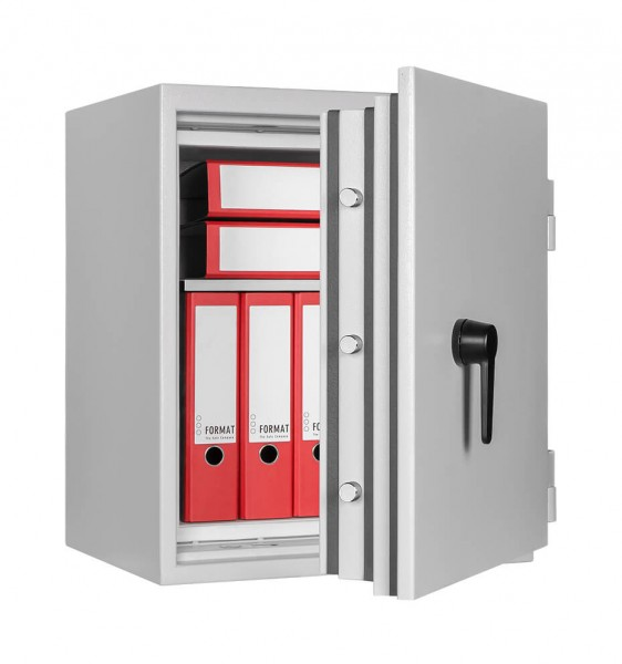Fireproof safe FORMATOffice Data Star 115 light grey filled and half open