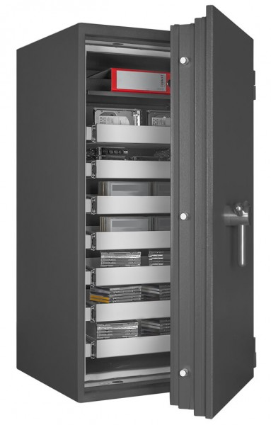 Fireproof safe FORMAT Office Data Star 240 filled and half open 2