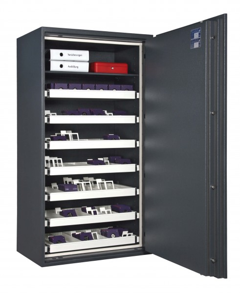Fireproof safe FORMAT Office Data Star 580 filled and open